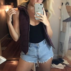 Burgundy TopShop puffer vest with hood